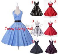 50s Vintage Dress Cotton Polka Dot Rockabilly Dress with Satin Belt S-6XL