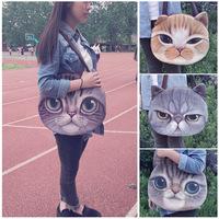 cat bags women's handbag shoulder bag designer animals printed shopping bag big size 4 patterns portable round bag for ladies