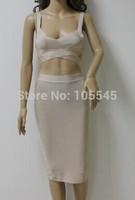 2014 new color beige two pieces set ladies hot&sexy strap elegant bandage party evening Dresses