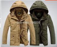 Cotton-padded jacket 2014 Winter Jacket Men  Outdoors Casual Add wool Long  Overcoat Coats Jacket Men  L XL XXL XXXL 4XL r812