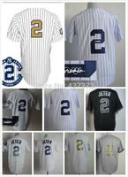 2014 free shipping stitched New York jersey #2 jeter  baseball Jersey/shirt Embroidery Logos