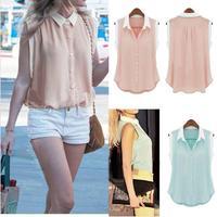 2014 Fresh Style Women's Summer trun-down Collar Flounce Shirt Sleeveless Contrast Color Blouse Patchwork Shirt 25j-CE3060
