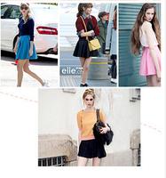 2014  summer bust girl's mini  skirt high waist slim hip puff woman's skirt sheds pleated skirt sun dress short skirt