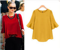 New 2014 Women Summer T-shirts Chiffon Blouse Pullover Shirt Top Casual Shirts Slim Blouse Loose Plus Size Female Clothing 2300