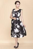 2014 Summer Plus size Artificial Silk mulberry silk drawstring slim one-piece dress