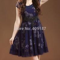 Summer short-sleeve Silk Chiffon dress