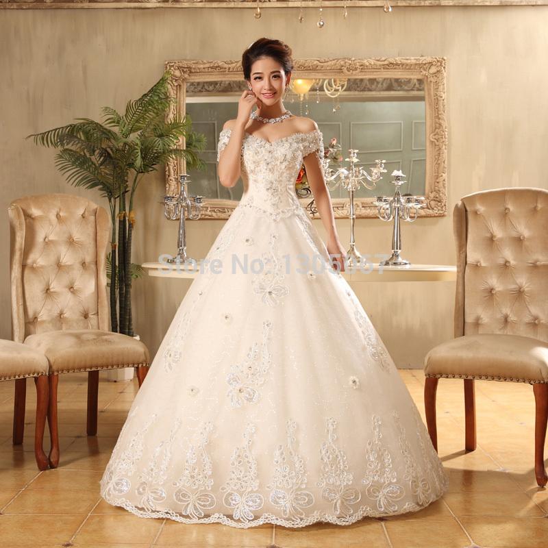 Херб Финн летит новый 2014 Корейской невесты Свадебные платья белые старинн