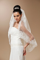#V1432 Real Pictures Romantic Lace Edge Short Bridal Veil+ Free Shipping+ In Stock Ready To Ship