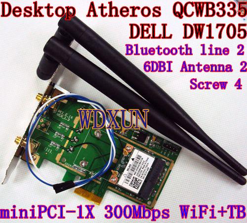 BROADCOM DW1705 Bluetooth 4.0 wifi 300Mbps Desktop Card Mini PCI-E for Desktop Adapter with 2pcs 6DB Antenna(China (Mainland))
