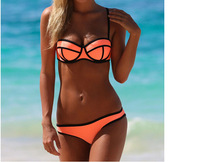 10 sets High Quality 2014 Sexy Women's Push Up Neon Neoprene SwimwearsTriangl MILLY Neoprene Bikinis Neoprene Swimsuit Set