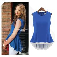 Explosion Models of High-Quality Summer Wild Ladies Stitching Vest Fake Two Dress Shirts Brief Fashion chiffon Dresses nz183