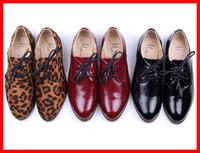 2014 new Fashion vintage Flat Heel Female Shoes women strap Sweet casual students women Flats leopard black red