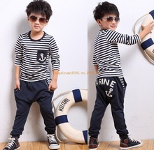 Free Shipping 2014 navy style boys tracksuit clothing set baby long-sleeve T-shirt capris pants set children kids suit clothes(China (Mainland))