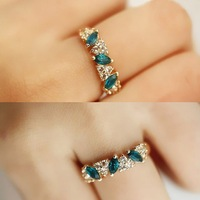 Antique Retro Emerald Rhinestone Crystal Finger Ring Wholesale Jewelry Ring O LMPJ052