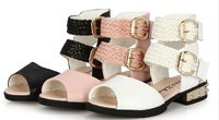 Free Shipping 2014 genuine leather princess girl sandals