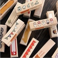 10 pcs/lot DIY Cute Kawaii Wooden Stamps Doll Lace Flags Girls Foods Cake for Diary Scrapbooking Gift Free shipping 233