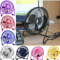 USB Electric 4 Metal Head Fan 360 Rotate Metel Mute Radiator Fan Mini Portable Cooler Cooling Desktop Power PC Laptop Desk Fan