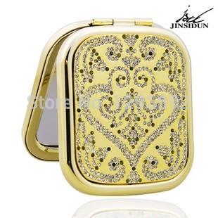2014 Luxury make up mirror diamond handmade beauty portable makeup mirrors gift for women girls(China (Mainland))