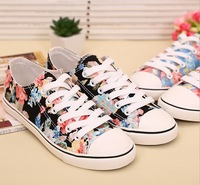 2014 women sneaker canvas shoes for women Floral low help flat canvas shoes