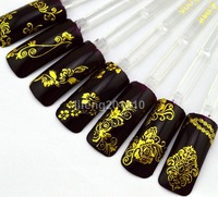 wingood88 nail art store High Quality Gold 3D Nail Art Sticker Decals Decorations Tool Hot stamping  10pcs free shipping
