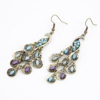 Korean Fashion Vintage Bohemia large peacock Drop Earrings For Women Fashion Jewelry Wholesale