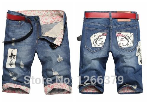 Destroyed Jean Shorts Mens Men Jeans Torn Destroyed Half