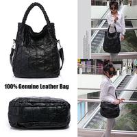 New 2014 Vintage Punk Style 100% sheepskin Leather Bag Woven Stitching Shoulder Bags Handbags Women Famous Brands 826