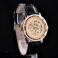 Stylish MCE 2014 NEW Women Men's Skeleton Dial Design PU Leather Band Hand-Wind Mechanical Wristwatch Sports Dress Luxury Watch