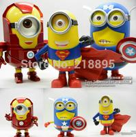 2014 brinquedos anime free shipping despicable me 2 - captain america& iron man& superman minions poseable figures pvc figure