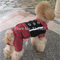 Black& Red Stripes Dog Clothing Pet Four-Legged Jumpsuit,Pet Gentleman Dress  2-6 Sizes Available
