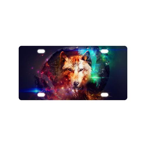 Original Design Animal Cool wolf Metal License Plate for Car (4 Holes)(China (Mainland))