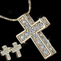 Wholesale 18k gold plated alloy rhinestone cross stud earrings&necklace austrian crystal jewelry set