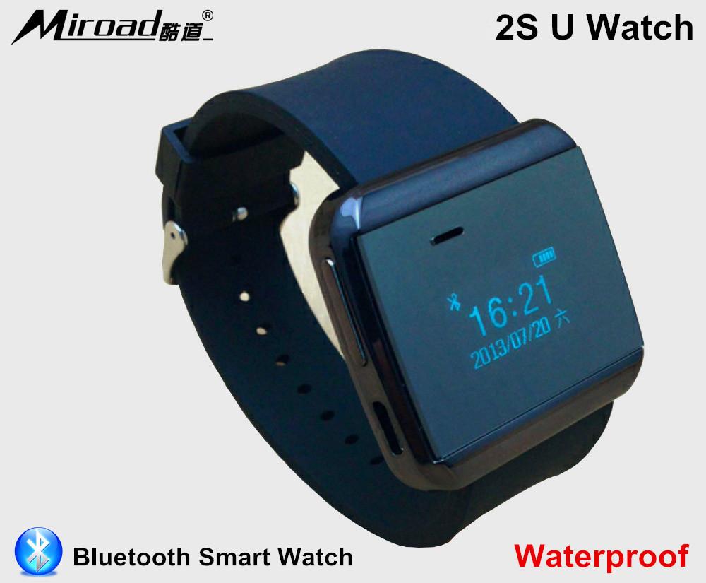 Black 2S U Watch Waterproof Bluetooth Smart Watch Phone for iPhone Samsung HTC Nokia Blackberry Sony Mobile Phones Phonebook(China (Mainland))