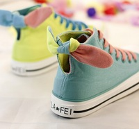 2014 women Candy color sneaker canvas shoes for women bowknot high help flat canvas shoes