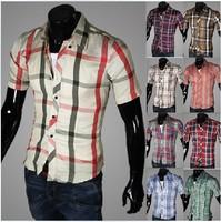 Promotion +Free Shipping 2014 New Fashion Casual Grid long-sleeved mens shirts, Fashion Leisure styles  dress shirt M-XXL m002