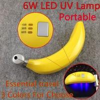 [banana-03]New Portable Banana 6W LED UV Lamp Nail Dryer for UV Gel Nail Polish, Essential Travel + Free Shipping