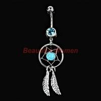Eye-catching Body Piercing Jewelry Crystal Gem Dream Catcher Navel Dangle Belly Button Bar Rings Body Art 18721 3F