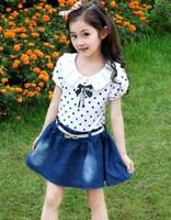 Good Quality Hot Summer 2014 New Baby Girls Dress Children's Denim Dot Casual Short Sleeve Kids Dress with Sashes