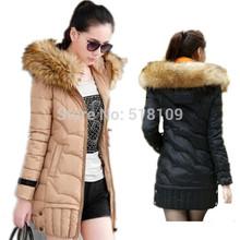 New 2014 kualitas tinggi hangat wanita jaket musim dingin bulu kap