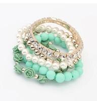 Min. order 9usd(can mix) Stretch Bracelet Fashion Korean version of sweet little pearl multi fresh roses bohemian cute
