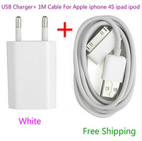 New 2014 EU USB wall charger adapter + High quality 30 pin data cable for apple iphone 4 4s ipad 2 3 ipod White free shipping
