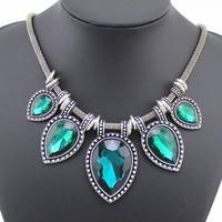 2014 New Fashion Design Vintage Antique Retro Necklaces Big Gem Stone Statement Choker Necklace For Lady Wedding Gift DFX-238
