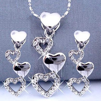 Wholesale jewelry necklaces and earrings alloy 18k white gold plated fashion women austrian crystal heart set