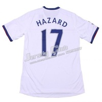 Top thailand quality 2014 Chelsea soccer jersey #17 HAZARD away white,Free shipping Chelsea Football shirts