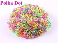 (Over $10 free shipping)Hot  polka dot DIY bracelet Loom Rubber Bands Loom Bands Refills (600 bands+ 24 S-Clips each packs)