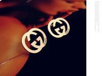 Korean fashion silver crown charm earrings 18k gold plated geometric earrings wedding jewelry 4012