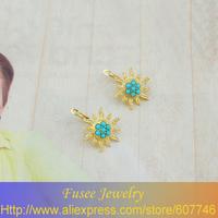 IZZ01408-1 18K Gold Filled Turquoise/pearl sun pendant earrings  2pcs/lot
