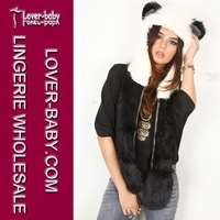Popular Crazy Panda High Quality Faux Fur Hood Animal Hat With Ear Flaps and Hand Pockets