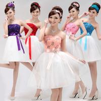 New 2014 Women Short Chiffon Evening Dress Patchwork Party Prom Dress Female Plus Size Evening Elegant Formal Dress size 2-12