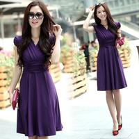 Summer wear new bubble short sleeve v-neck silk fashion dress